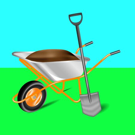 Vector illustration garden cart and shovel Isolated on background