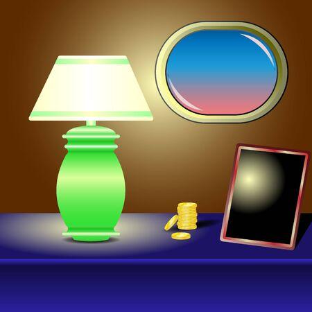 Illustration vectorielle Lampe de table, pièce d'or, cadre, hublot sur une table bleue
