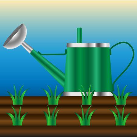 Illustration vector watering can in the garden Ilustração