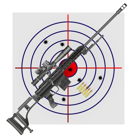 vector illustration of a sniper rifle and ammo on the background of the target