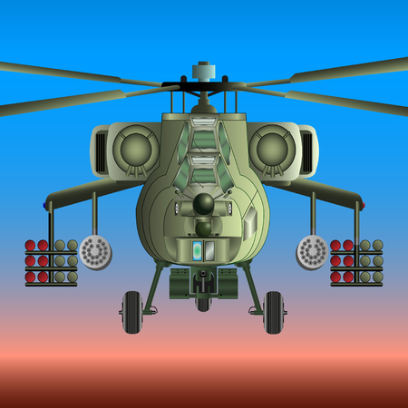 Military helicopter in the sky vector illustration.