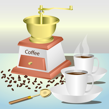 Manual coffee grinder, coffee beans, coffee spoon, two cups of coffee on the saucers. Vector, Illustration