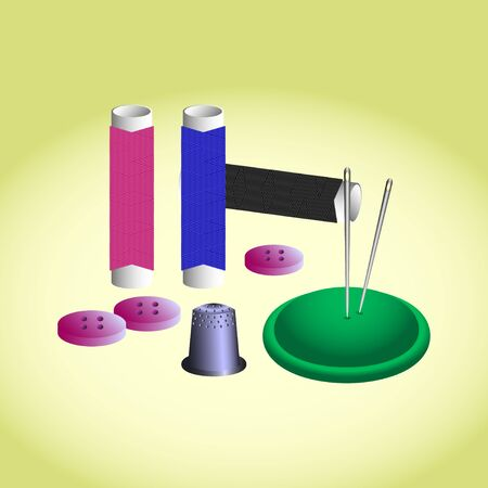Sewing accessories ( threads, needles, buttons,pincushion for needles, thimble ).