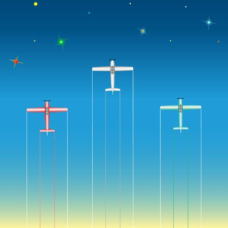 A light aircraft in the starry sky Vector Illustration