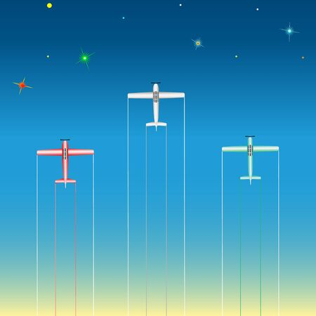 light aircraft in the starry sky. Vector, Illustration 일러스트