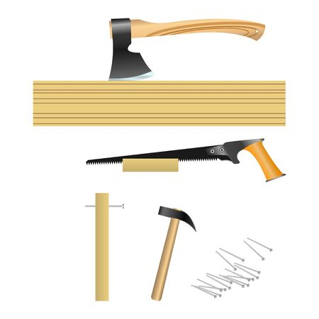 tools for carpenter (hammer, hand saw, ax). Vector, Illustration  イラスト・ベクター素材