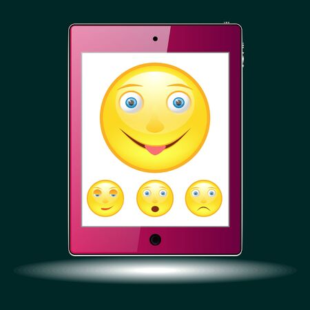 tablet with picture of the emoticons. Vector, Illustration Stockfoto - 129279165