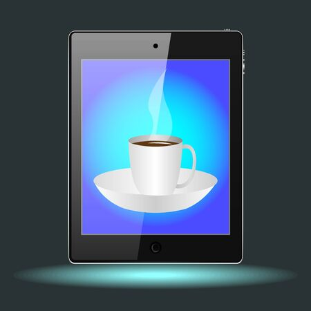 tablet with a Cup on a saucer with a hot drinks. Vector, Illustration Banque d'images - 129279164