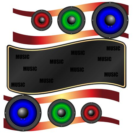 Music abstraction, multicolored acoustic speakers. Vector, Illustration Stockfoto - 129279168