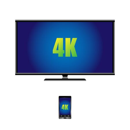 4k widescreen TV with LCD display and remote control. Vector, Illustration