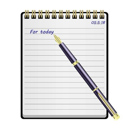 fountain pen with Notepad, diary. Vector, Illuastration