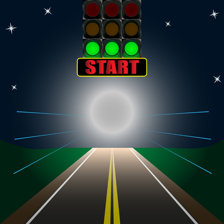 luminous scoreboard start on the road. Vector Illustration