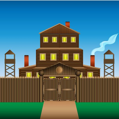 Log house image illustration