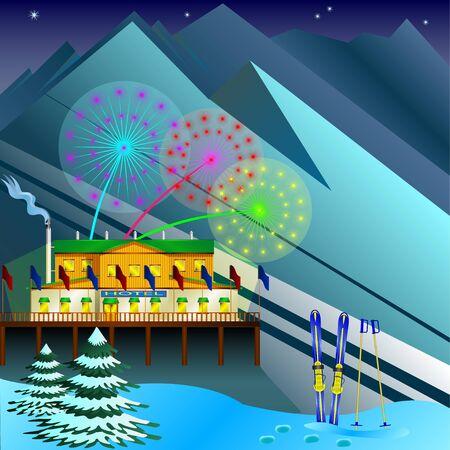 Ski resort image illustration