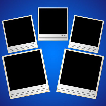photo template with gold-plated frame, lines for signature and date, on a blue background. Vector Illustration