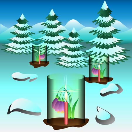Snowdrops covered and heated by candles. Vector Illustration.