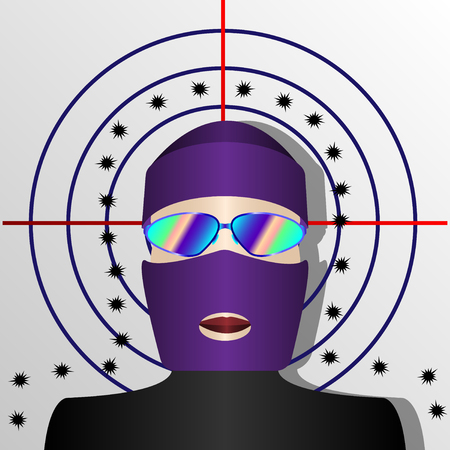 man in balaclava on the background of the shot target. Vector Illustration