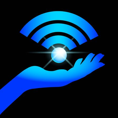 sign Wi-Fi on the palm. Vector Illustration