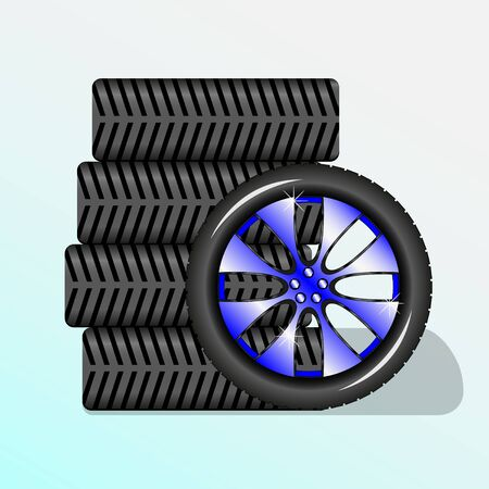 Five wheels for car. Alloy wheel. Vector Illustration