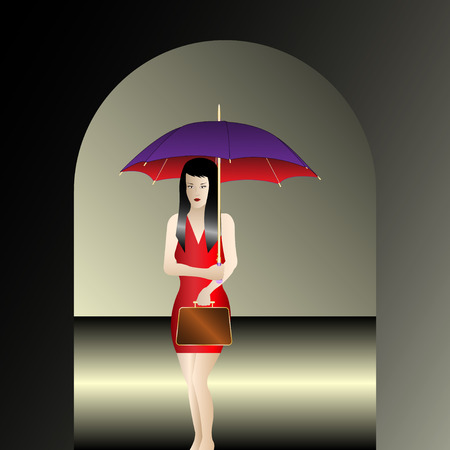 Girl with umbrella under the arch. Vector Illustration Vettoriali