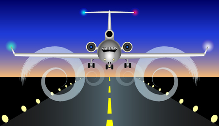 The plane is landing, rises on the runway. Vector Illustration