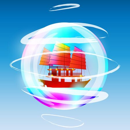 sailing ship in a bubble. Vector Illustration