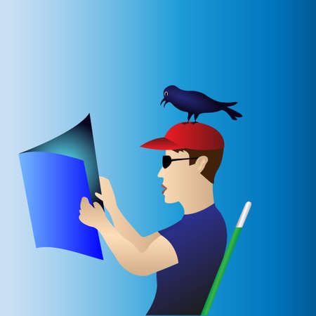 a guy in sunglasses and a red cap reads a magazine with a bird on his head. Vector Illustration
