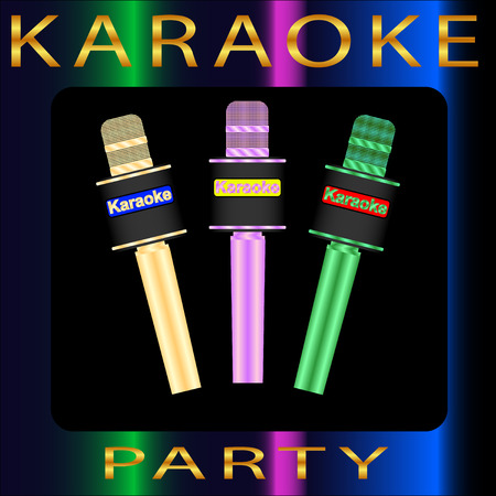 Karaoke party with multicolored microphones.