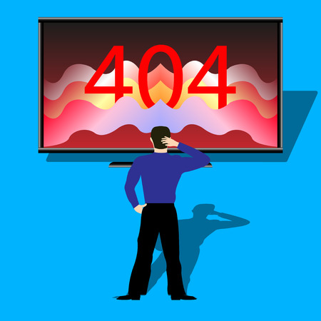 person in front of the monitor showing error 404 page, on blue background. Vector Illuastration Çizim