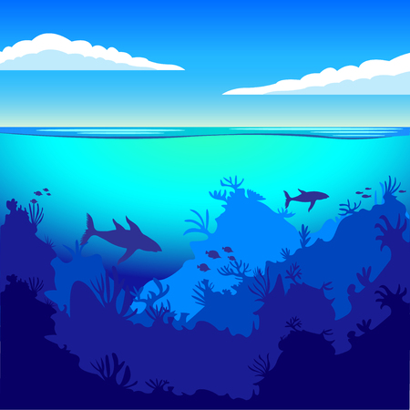 the depths of the ocean, on the seabed, underwater. Fish, marine animals, seabed. Flat style