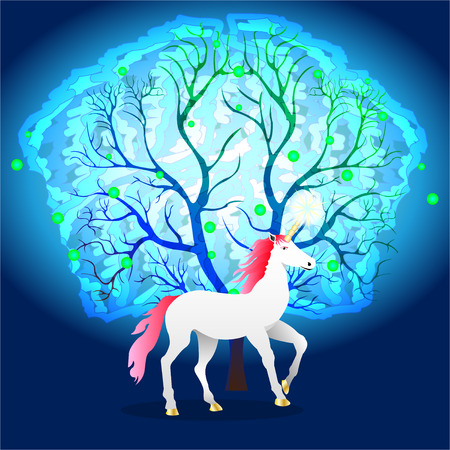 white unicorn with a pink mane near a magical glowing tree. Vector Illustration