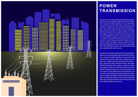 Power Transmission, electricity, high voltage line, transformer, city power supply. Vector Illustration Banque d'images - 101729956