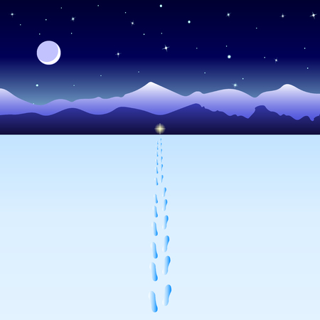 Footprints in the snow leading to the light. Moon, starry sky, mountains in the distance, snowy valley. Vector Illustration