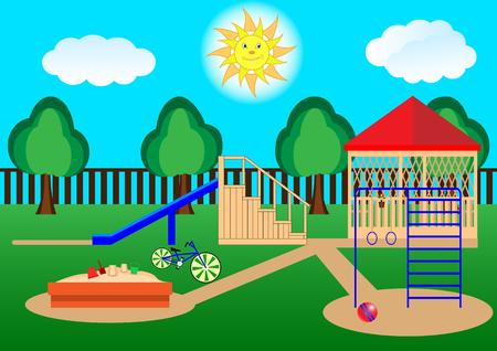 Children's playground. Cartoon, flat design. Vector Illustration Stock Illustratie