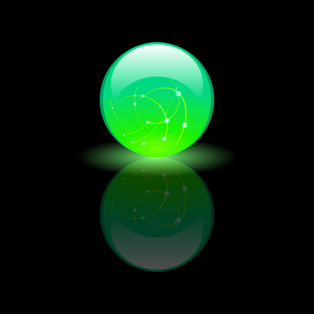 Magic luminescent glass green ball on black background, on a reflective surface. Vector Illustration
