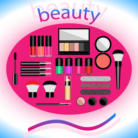 the makeup that says beauty on an abstract background. Flat design. Vector, Illustration