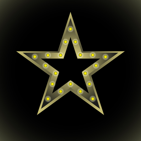 stylized star with yellow light bulbs on black background. Vector, Illustration Ilustração
