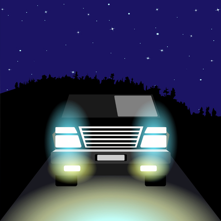 The SUV with its lights on night road, on the background of the night starry sky and the wooded hill on the horizon. Vector Illustration