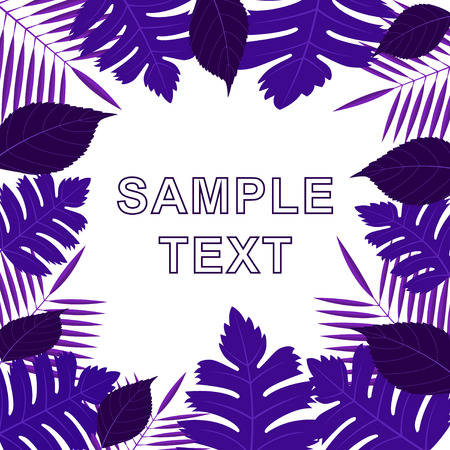 frame of different purple leaves on white background. Set of leaves on the edges of the picture with the words sample text in the center. Vector, illustration.