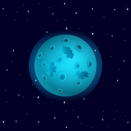 Cosmos. Blue planet with craters, with stars in the background, like the moon. 3D isometric vector illustration. Illustration