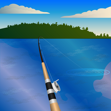 fishing rod with a reel, bite. Fishing, first-person view, pond, forest on the horizon.  Vector Illustration Banco de Imagens - 106314593