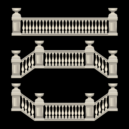 stucco railings, marble, stone, antique, with flower beds. Vector Illustration Ilustracja
