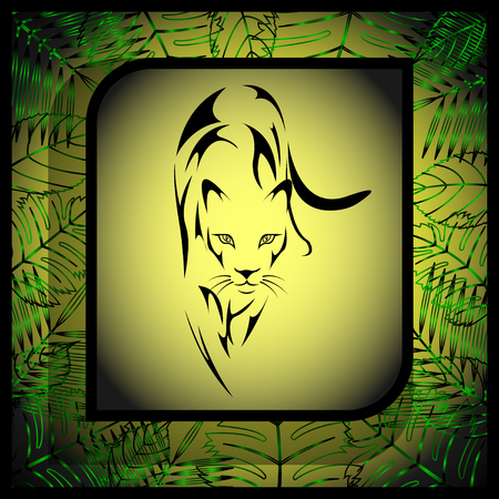 wild predatory cat in the form of a tattoo in a frame, green abstract plants in the background. Vector, Illustration