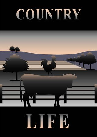 Cover Country Life. silhouettes of a cow and a rooster on the background of trees and fields. Vector illustration  イラスト・ベクター素材