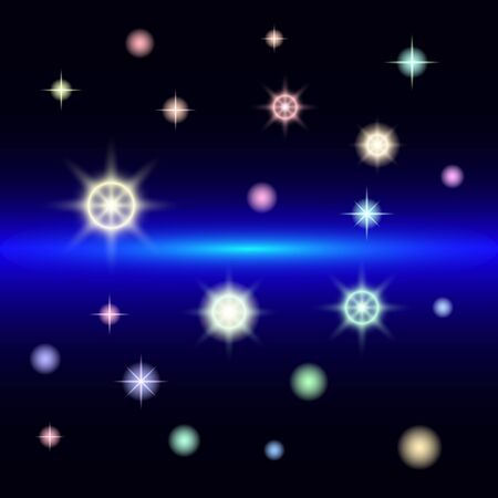 abstract space stars and planets. Beautiful multi-colored stars on a dark background. Vector illustration  イラスト・ベクター素材