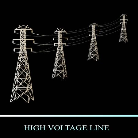 high voltage line. Power transmission isolated on black background. Vector illustration  イラスト・ベクター素材