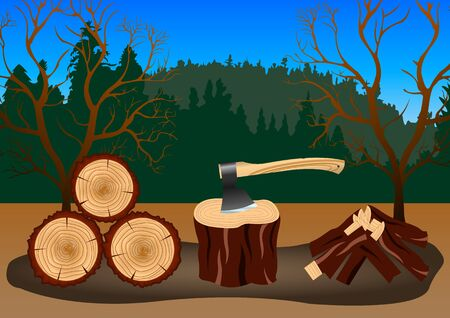 Wood harvesting in the forest. Ax stuck in the chock. Vector illustration