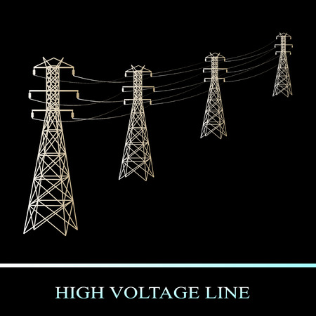 high voltage line. Power transmission isolated on black background. Vector Illustration