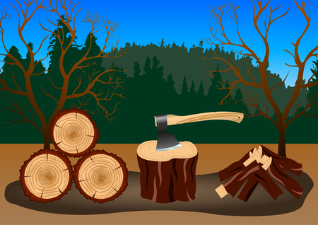 Wood harvesting in the forest. Axe stuck in the chock. Vector Illustration
