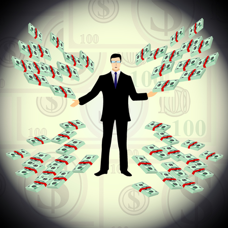 a man offers money, many dollars, bundles of banknotes. Vector illustration